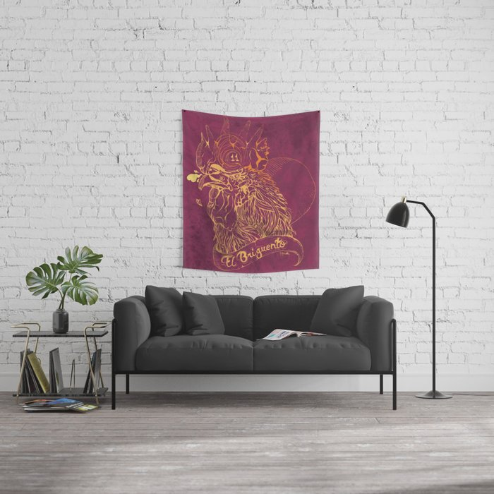 El Briguento - The Fighter (Golden) Wall Tapestry
