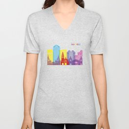 San diego skyline pop Unisex V-Neck