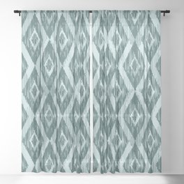 Pine and Mint Ikat Sheer Curtain