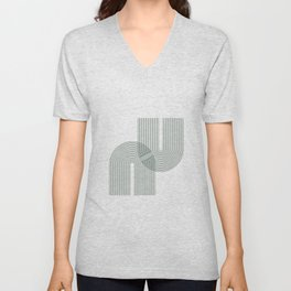 Geometric Lines in Sage Green 2 (Rainbow Abstraction) Unisex V-Neck