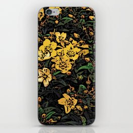 Yellow Flowers Woodcuts iPhone Skin
