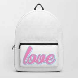 Love, Typography, Blue and pink, Backpack