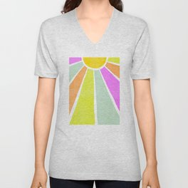 Bright Sunshine Rainbow #positiveart Unisex V-Neck