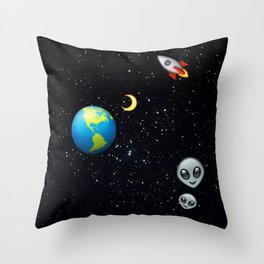 Space Emoji Throw Pillow