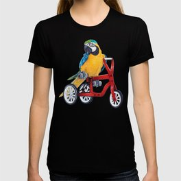 Parrot macaw on red bike T-shirt