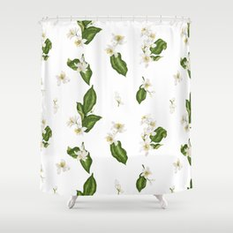 Citrus Flower Pattern with Spring Flowers and Leaves Shower Curtain