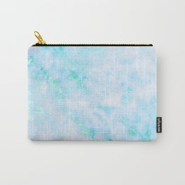 Blue Marble - Shimmery Turquoise Blue Sea Green Marble Metallic Carry-All Pouch