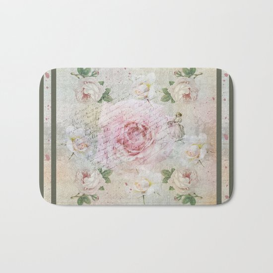 Romantic vintage roses and French handwriting Bath Mat