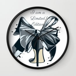 Fashion illustration with high heel shoe and bow. I am limited edition Wall Clock