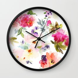 Beautiful Light Watercolor Painting Flower Pattern Floral Kingdom Wall Clock