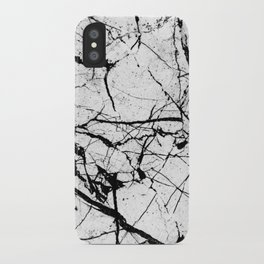 Dusty White Marble - Textured Black And White iPhone Case