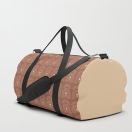 Geometric Lines in Terracotta and Beige 21 (Rainbow Moon Phases) Duffle Bag