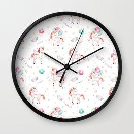 Hand painted blush pink green magical unicorn typography Wall Clock
