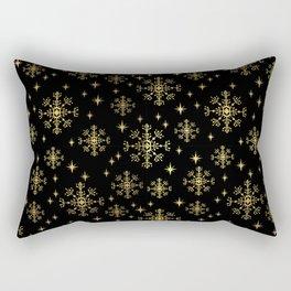 Gold and black snowflakes winter minimal modern painted abstract painting minimalist decor nursery Rectangular Pillow
