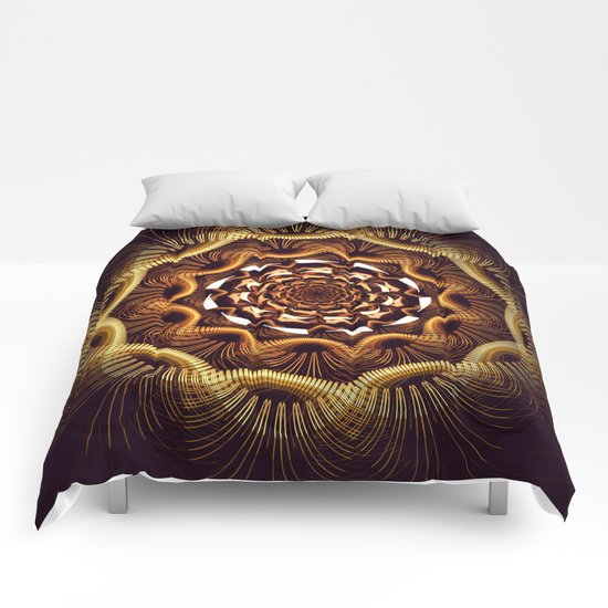 Golden curves and tribal patterns Comforters