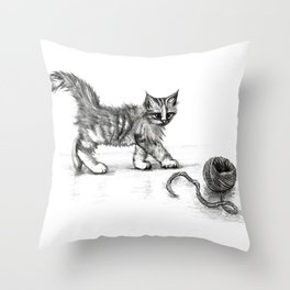 Kitten and ball of wool drawing Throw Pillow