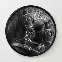 Friesian horses Wall Clock