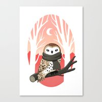 freeminds Canvas Prints featuring Winter Owl by Freeminds