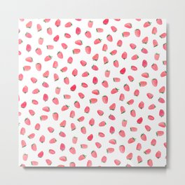 Strawberry Patch Watercolor Pattern Metal Print