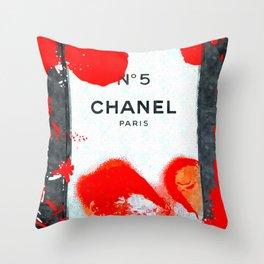 No 5 Red Splash Throw Pillow