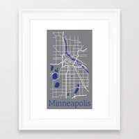 minneapolis Framed Art Prints featuring Minneapolis by Daniel P.