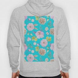 Artist hand painted pink lavender teal watercolor floral Hoody