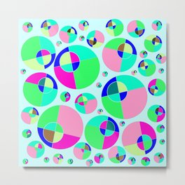 Bubble pink & green Metal Print
