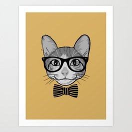 Cat Hipster with Stripes Bow Tie Art Print