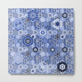 Hexagons Tiles (Azul) Metal Print