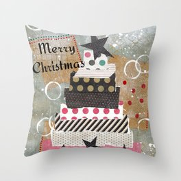 Shabby Chic Country Christmas Tree Throw Pillow