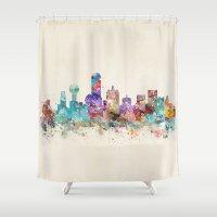 dallas Shower Curtains featuring dallas texas skyline by bri.buckley