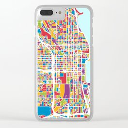 Chicago City Street Map Clear iPhone Case