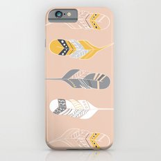 Multi Colored Feathers in Peach iPhone 6 Slim Case