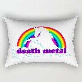 Funny Death Metal Unicorn and Rainbow Rectangular Pillow