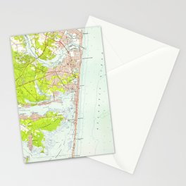 Vintage Map of Point Pleasant NJ (1953) Stationery Cards