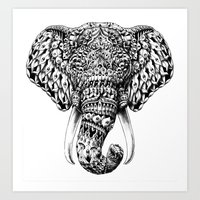 ornate elephant Art Prints featuring Ornate Elephant Head by BIOWORKZ