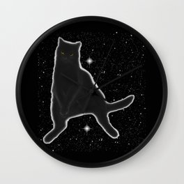 Kiki Kitty Cat in Outer Space Wall Clock