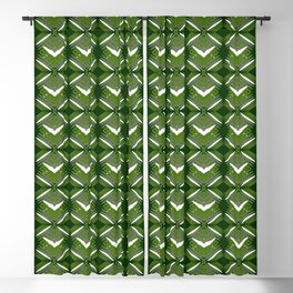Grassy rhombuses of white stars with hearts in a bright intersection. Blackout Curtain
