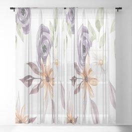 Watercolor Floral Pattern Sheer Curtain