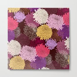 Autumn garden of chrysanthemums Metal Print