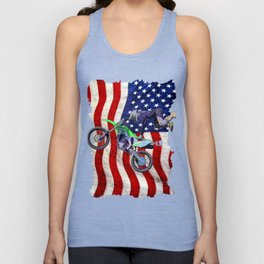 High Flying Freestyle Motocross Rider & US Flag Unisex Tank Top