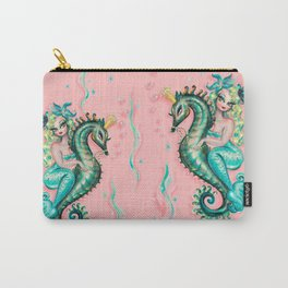 Mermaid Riding a Seahorse Prince Carry-All Pouch