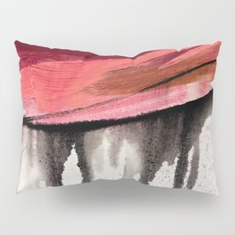 Entangled [4]: a vibrant, colorful abstract mixed-media piece in reds, pinks, black and white Pillow Sham