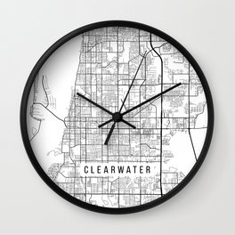 Clearwater Map, USA - Black and White Wall Clock
