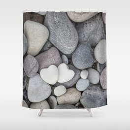 Heart Pebble Stone Mineral Love Symbol Shower Curtain