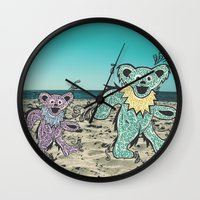 grateful dead Wall Clocks featuring Grateful Dead Beach Cruise by Charlotte hills