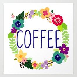 Coffee - flower ring Art Print