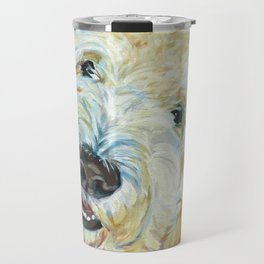 Stanley the Goldendoodle Dog Portrait Travel Mug