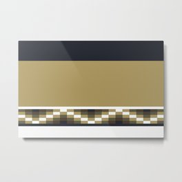 Block Wave Illustration 2 Thick Bold Horizontal Lines Digital Artwork Metal Print
