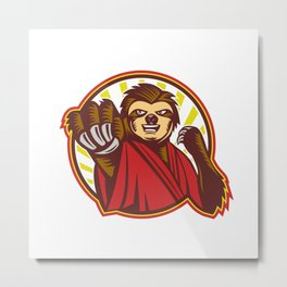 Sloth Fighter Self Defense Circle Mascot Metal Print